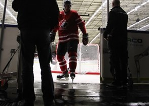 MALMO, SWEDEN - JANUARY 2: Canada's #14 Taylor Leier leaves the ice after the warmup is over prior to quarterfinal round game between Canada and Switzerland at the 2014 IIHF World Junior Championship. (Photo by Francois Laplante/HHOF-IIHF Images)