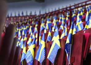 MALMO, SWEDEN - JANUARY 4: The stands were properly decorated prior to semifinal round game between Sweden and Russia at the 2014 IIHF World Junior Championship. (Photo by Francois Laplante/HHOF-IIHF Images)